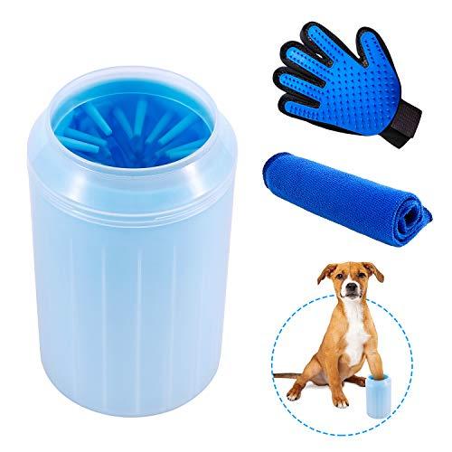 TOPCRAZY Hunde Pfote Reiniger,Pfotenreiniger Für Haustier Tragbare Pet Reinigung Pinsel Tasse Hundepfote Reiniger Clever Dog Feet Washer (Inklusive Handtuch Schrubben und Haustier Bürsten Handschuh)