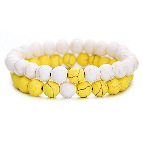 uck Geschenk,2Pcs/Set Couples Distance Bracelet Classic Natural Stone White and Black Yin Yang Beaded Bracelets for Men Women Best Friend ()