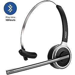 Mpow Casque Bluetooth sans Fil avec Microphone pour PC, téléphone Portable, VoIP, Skype, Call Center, Bureau, Camion, Voiture, etc. (téléphone Intelligent)