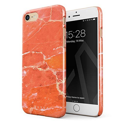 BURGA Hülle Kompatibel mit iPhone 7/8 Handy Huelle Neon Ornage Peach Coral Marble Stone Pfirsich Koralle Marmor Stein Sommer Dünn Robuste Rückschale aus Kunststoff Handyhülle Schutz Case Cover -