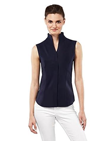 Vincenzo Boretti Women's Blouse, sleeveless, modern-fit, cup-shaped collar, uni - non-iron,darkblue,14