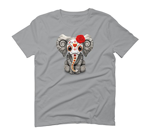 Red Day of the Dead Sugar Skull Baby Elephant Men's Graphic T-Shirt - Design By Humans Opal