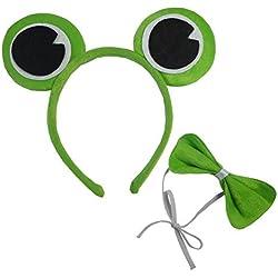 Diseño de la rana Gustavo, color verde rana Príncipe Sapo de banda para la cabeza orejas lazo Fancy Dress Adulto Niño