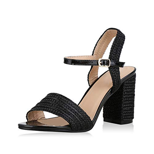 SCARPE VITA Damen Pumps Riemchensandaletten Metallic Sandaletten Party Schuhe Lack Absatzschuhe Elegante High Heel 176625 Schwarz Lack 38 -