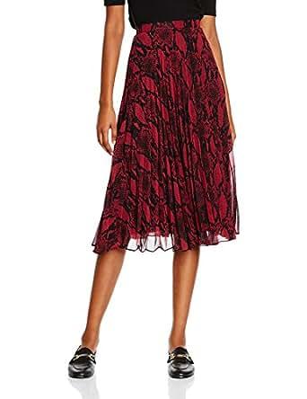 New Look Women's Sammy Snake Pleat Midi Skirt, Red (Red Patten), 6