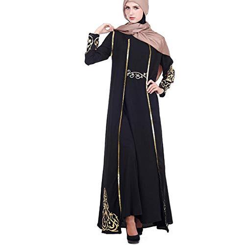 GJKK 2 PC Muslimische MaxiKleid und Robe Kaftan Abaya Slim Muslim Party Kleider Islamisch Muslim Elegante Muslimischen Kaftan Kleid Abaya Kleider Lange Ärmel Elegante Muslimische Roben