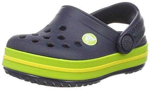 Crocs crocband clog kids sabot unisex - bambini, blu (navy/volt green), 30-31 eu (c13 uk)