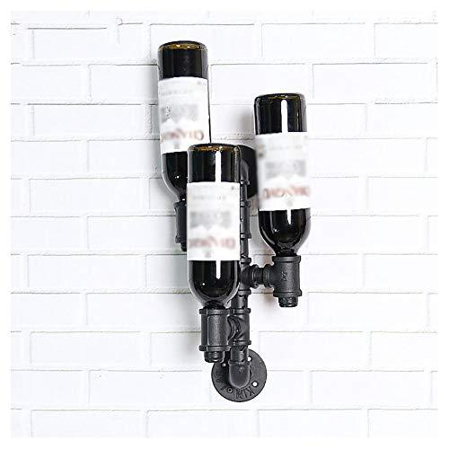 Industrierohre kreative Weinregal, individuelle Wandmontage Display-Ständer, an der Wand Weinregal, retro dekorative Wandbilder, hohe 39cm schwarz -