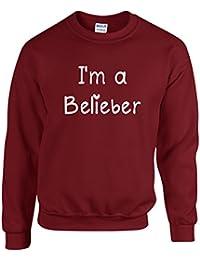 I'M A BELIEBER ~ JUSTIN BIEBER ~ BURGUNDY SWEATSHIRT ~ SIZES S - XXL
