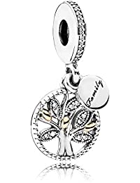 28c6aa8659d Stone Beads Tree of Love Dangle Charm,Red Enamel and Pink Cubic Zirconia  with 925