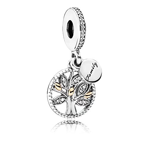 Family tree silver dangle with and clear cubic zirconia