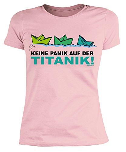 Lustiges Damen Sprüche Shirt/Patyshirt : Keine Panik auf der Titanik! by Gali - Damenshirt Partysprüche Gr: S - Sinkende Schiff