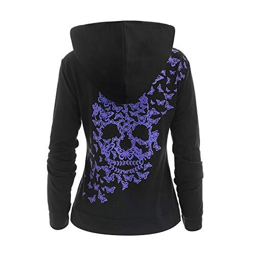 WWricotta Womens Fashion Butterflies Skull Print Hoodie Kangaroo Pocket Hooded Sweatshirt -