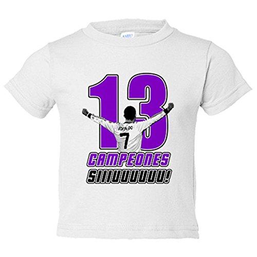 Camiseta niño Real Madrid campeones la decimotercera Copa de Europa CR7  Siuu Sii Champions - Blanco 231047b8f8d7d