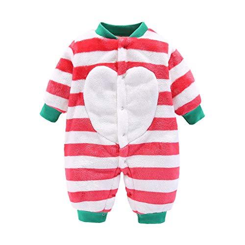 Livoral Baby Wintermantel Overall Neugeborene Baby Boy Girl Cartoon Langarm gestreiften Fleece-Overall(A-Rot,3-6 Monate)