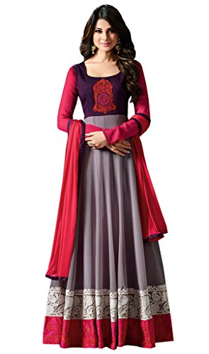 Anarkali ( Vaikunth Fabrics Georgette And Banglori Silk Grey And Pink Embroidered Women\'s Wear Semi Stitched Anarkali Suit AS-110035)