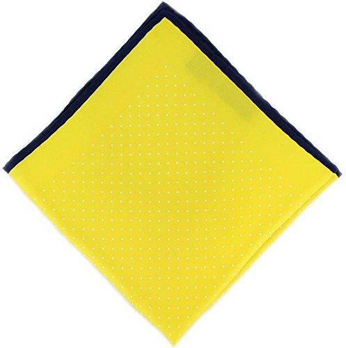 Michelsons of London Jaune Marine Pin Dot/mouchoir avec Border Soie de