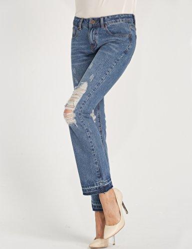 Camii Mia Damen Normaler Bund Mid Rise Regular Fit Destroyed Flared Jeans Blau