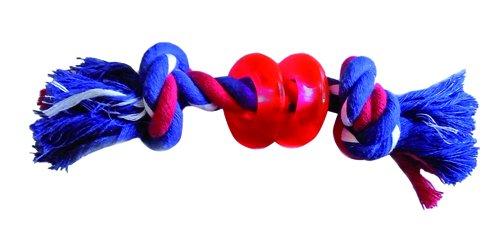 Gor Pets Hund kauen Spielzeug 2-knots und Kunststoff Ringe Seil Tug (Spielzeug Hund Bone Bouncy)