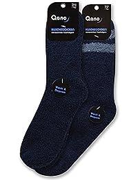 Qano 4117 2er Pack Herren Wohlfühl Kuschelsocken blau ( marine ) uni, blau ( marine ) mit grauen Schaftringeln