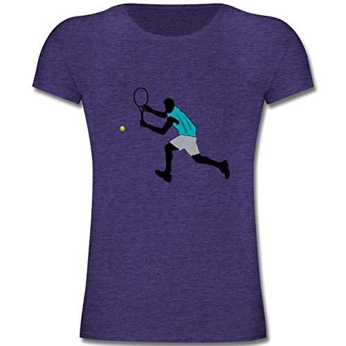 Sport Kind - Tennis Squash Rückhand - 164 (14-15 Jahre) - Lila Meliert - F131K - Mädchen Kinder T-Shirt