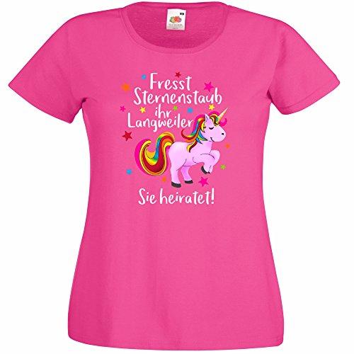 3128af7b7f48e9 Shirtoo Damen T-Shirt für Den Junggesellenabschied mit Motiv Einhorn -  Fresst Sternenstaub Ihr Langweiler - Sie Heiratet (Frauen) in Pink