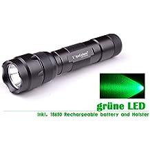 L'lysColors® Luz VERDE CREE-Q5 LED Linterna Caza con batería y funda