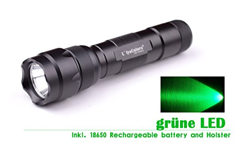 L\'LYSCOLORS - GRÜN-LICHT LED Taschenlampe Jagd inkl. 18650 Akku und Holster