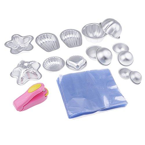 MagiDeal 7pcs Moule en Aluminium avec Sac d'emballage et Mini Machine à Capper pour Savon de Bain DIY Fabrication de Savon/Pâte à Sucre/Pâtisserie / Décoration de Fondant