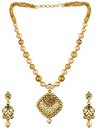 Ce'lavy Gold Tone Multistrand Golden Pearl Designer Necklace Set With Pearl Drop Earrings Earings For Girls And...