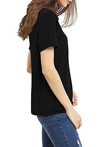 Yidarton Damen Sommer Kurzarm T-Shirt V-Ausschnitt mit Schnürung Bluse Shirt Schwarz
