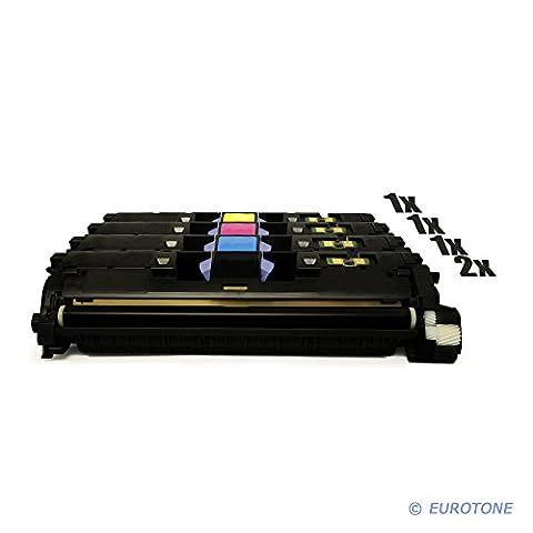 5x Eurotone Remanufactured Toner Cartouche pour HP Color LaserJet 2550 2820 2840 LN AIO L N remplace Q3960A-63A 122A
