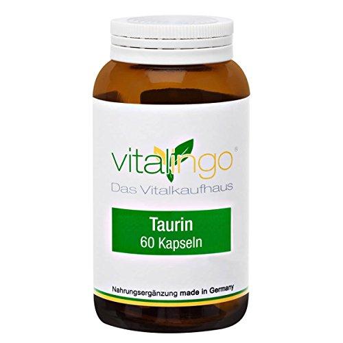 Taurin Kapseln mit 400mg Taurin in 60 Kapseln á 500mg in einer Kapselhülle aus 100mg Methylcellulose (Vegicaps/ für Vegetarier geeignet)