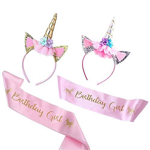Unicornio Diadema y Juego de Sash para niña de cumpleaños, Cuerno de unicornio con Faja de satén rosa Unicornio Favores y decoraciones para fiestas de cumpleaños feliz - 2 sets