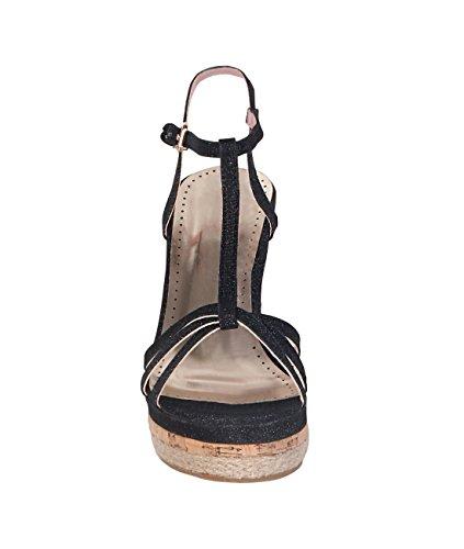 KRISP® Femmes Sandales Compensées Talon Tressé Casual Noir
