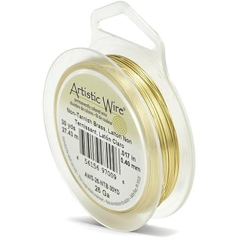Beadalon Artistic Wire - Alambre para manualidades (calibre 26, 27,4 m, no se deslustra), color dorado