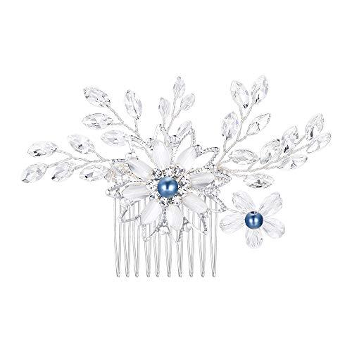 Clearine Damen Künstliche Perlen Kristall Blume Handarbeit DIY Braut Hochzeit Haarkamm Haarschmuck Ivory-Farbe (Blau)