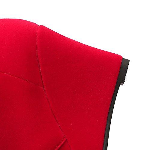 top Allhqfashion Botas Senhoras Do Cunhas Vermelho Baixo Redondo Puro Dedo Pé wPaxF70fqa