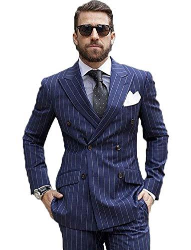 Lilis® Männer 2 Stück Nadelstreifen Anzug Slim Fit Streifen Peaked Revers Jacke Weste Hosen Sets