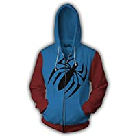 Xdai Unisex Hooded Pullover Hoody Tops 3D Print Sweatshirts Long Sleeve Heavyweight Slim Gym Jacket Sportswear Outdoor Plus Waterproof Hooded Raincoat Windproof Spider-Man Zipper