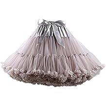 SCFL adulto de lujo suave de la gasa de la enagua de tul falda del tutú de las mujeres del tutú del ballet del traje de la danza de múltiples capas de la enagua de la falda hinchada