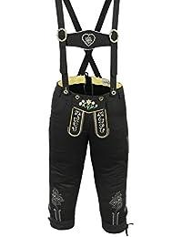 Damen Trachten Kniebundhose Jeans Hose kostüme mit Hosenträgern Schwarz