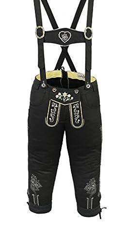 Damen Trachten Kniebundhose Jeans Hose kostüme mit Hosenträgern Schwarz, Größe:34