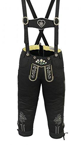 Preisvergleich Produktbild Damen Trachten Kniebundhose Jeans Hose kostüme mit Hosenträgern Schwarz, Größe:34