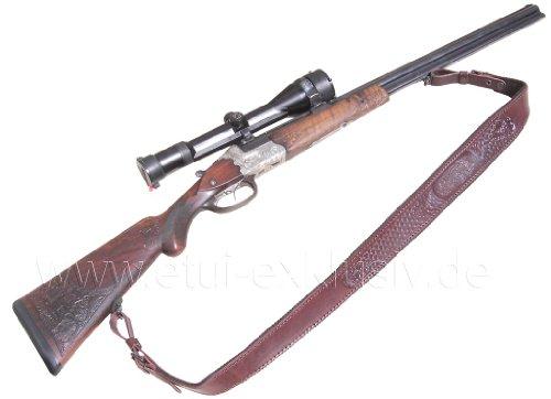 Gewehrriemen mit Jagdmotiv Blindprägung Sau, braun -