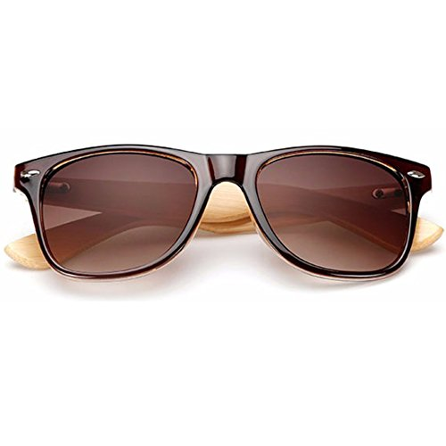RazMaz Wayfarer Walnut Wood Sunglasses for Women Men Latest Stylish Flat Lenses with Sunglass Case- UV400 Protection(Light BrownWood)