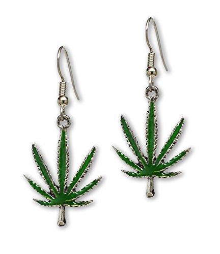 Marihuana Pot Leaf Baumeln Ohrringe Grün Emaille auf Zinn Pot Leaf