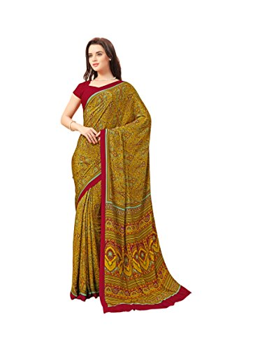 Florence Yellow Crepe Printed Saree with Blouse