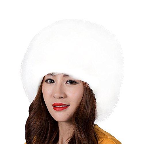 SwirlColor Russian Style Faux Fur Winter Cap Warm Hat For Women - White