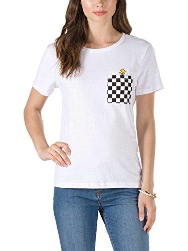 Vans_Apparel Damen T-Shirt Woodstock Basic Crew, Weiß (White), 10 (Herstellergröße: Medium) -